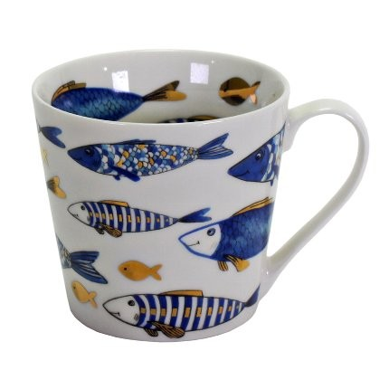 Becher Blue Fish 400ml - Porzellan