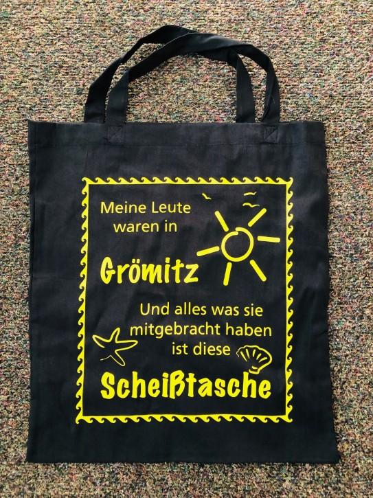 Baumwolltasche Scheiss Grömitz Gelb - kurze Henkel