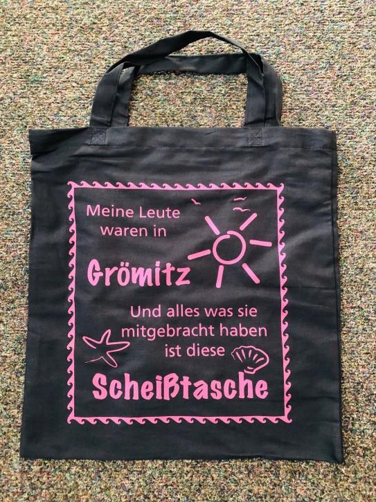 Baumwolltasche Scheiss Grömitz Lila - kurze Henkel