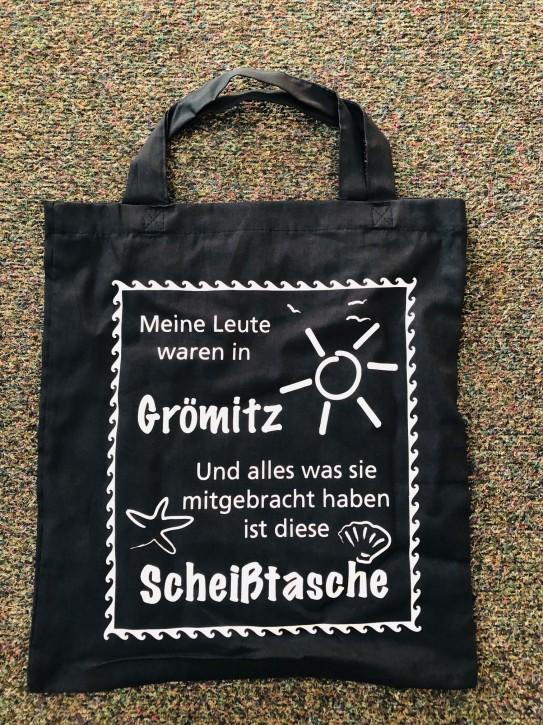 Baumwolltasche Scheiss Grömitz Weiss - kurze Henkel