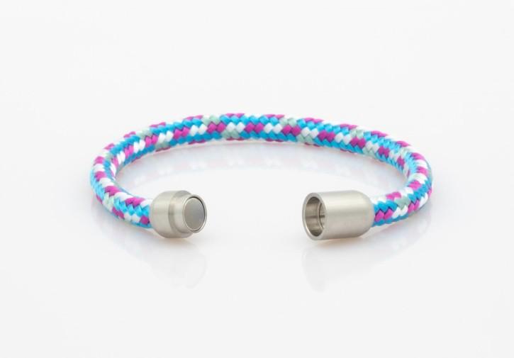 Armband Segeltau himmelblau,weiß,mint,pink 6mm-L