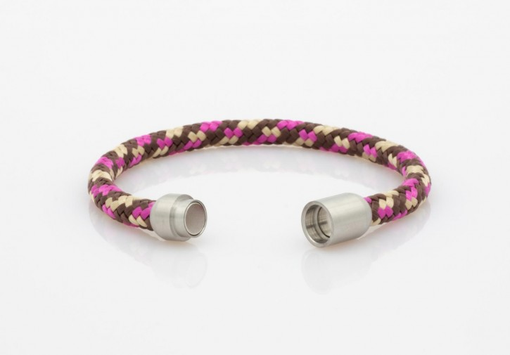 Armband Segeltau pink,braun,beige 6mm-L