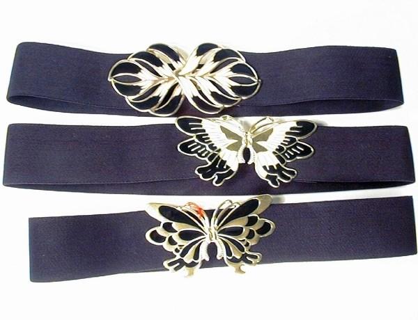 Stretch-Gürtel 5cm schwarz Schmetterling,Blüte,Verschluss