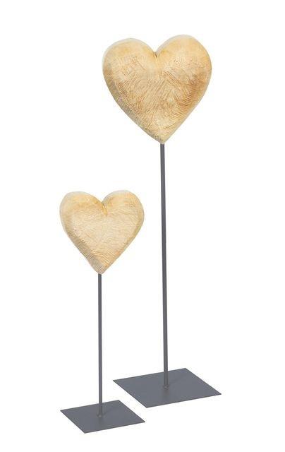 Herz auf Fuß Holz natur 50cm
