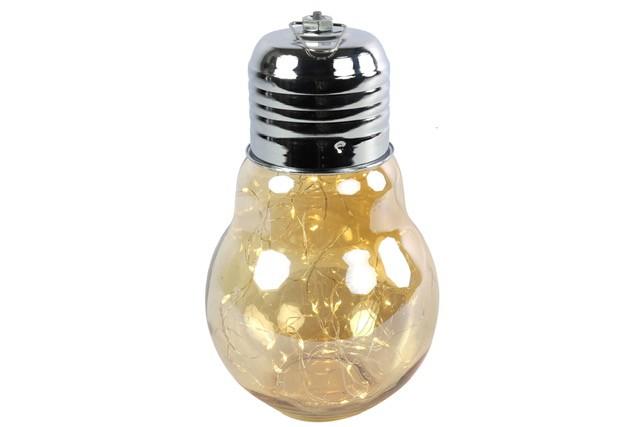 Lampe Birne LED mit Timer Gold 24x14cm