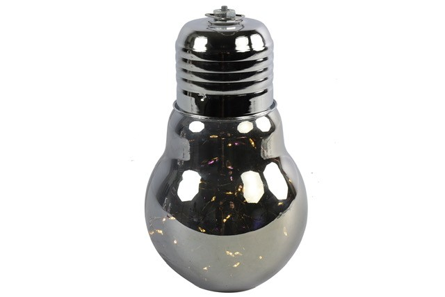 Lampe Birne LED mit Timer Grau 24x14cm