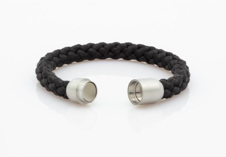 Armband Segeltau schwarz geflochten 8mm-S