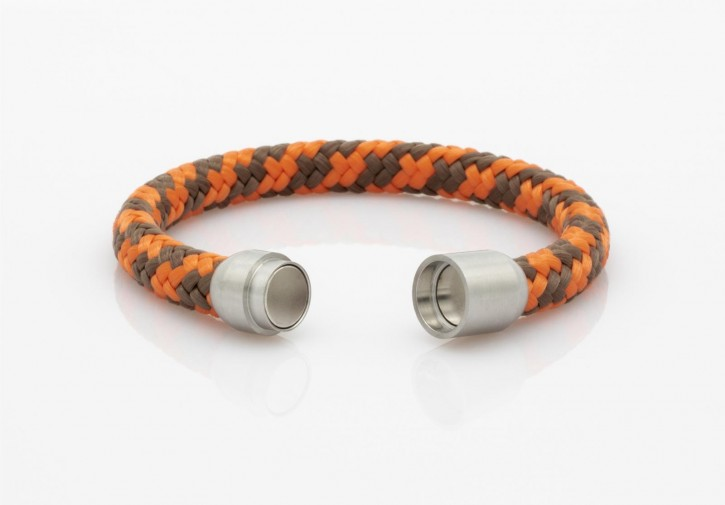Armband Segeltau orange,braun 8mm-L